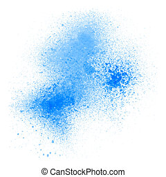 Blue spray paint on white background