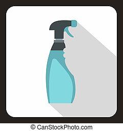 Blue sprayer icon, flat style