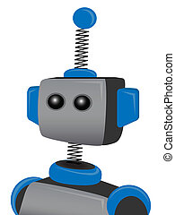 Blue Springy Robot with one antenna - Portrait of blue and...