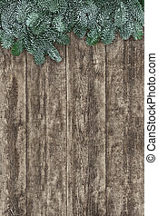 Blue Spruce Fir On Old Wood Background
