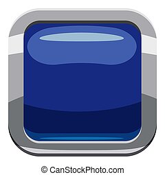 Blue square button icon, cartoon style