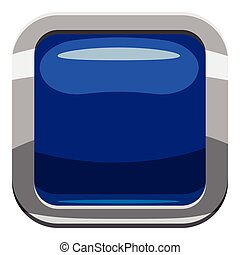 Blue square button icon, cartoon style