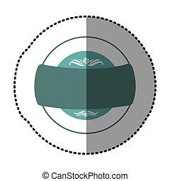 blue square emblem with ribbon icon