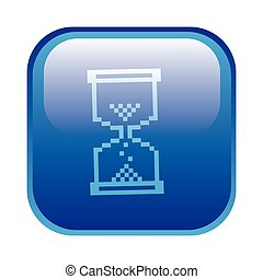blue square frame with hourglass icon