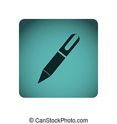 blue square frame with silhouette pen icon tool