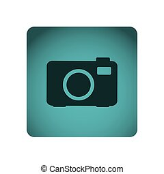 blue square frame with silhouette tech digital camera with flash
