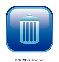 blue square frame with trash container icon