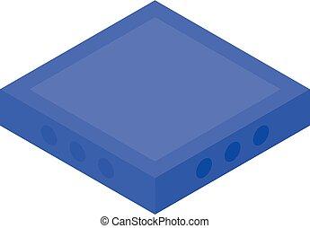 Blue square icon, isometric style
