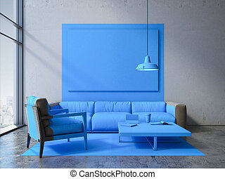 Blue square in a modern interior with sofa. 3d rendering