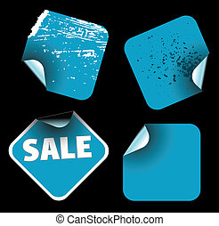 Blue square labels
