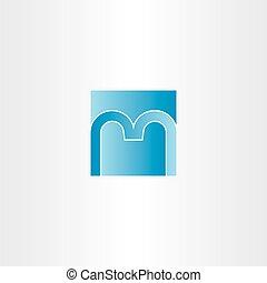 blue square letter m logo design icon