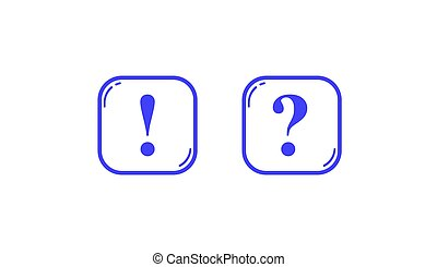 Blue square outlines with question and exclamation marks