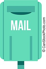 Blue square post box icon isolated