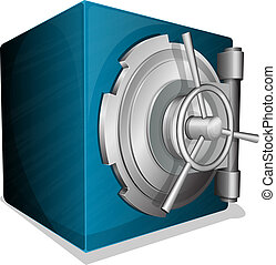 blue square vault - Vector illustration of blue square safe...