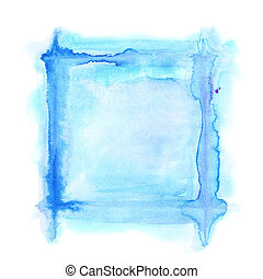 Blue square watercolor frame