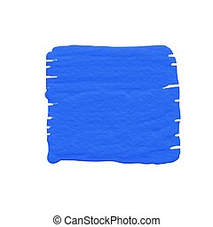 Blue square watercolor on white