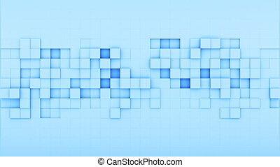 Blue squares 3D render loopable animation - Blue squares. 3D...