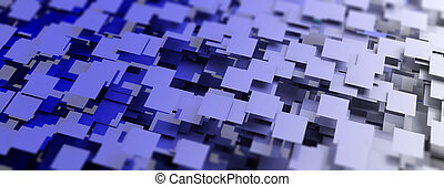 Blue squares abstract background. 3d illustration