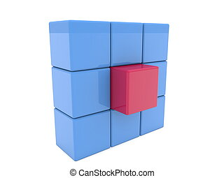 Blue squares with red button in the middle