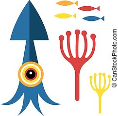 Blue squid illustration on white background