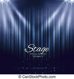 blue stage background with closed curtains