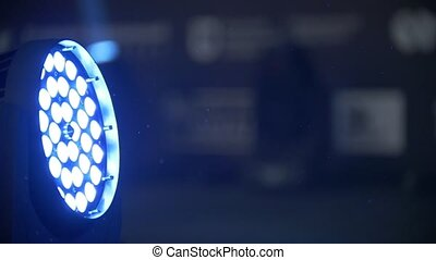 Blue stage lighting - working show, close up