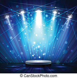 blue stage - spotlight effect scene background