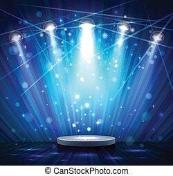 blue stage - spotlight effect scene background