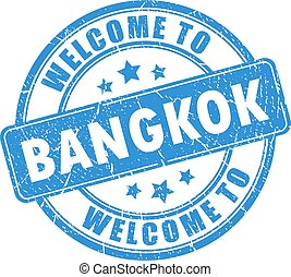 Blue stamp welcome to Bangkok