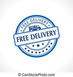 Blue stamp with the text free delivery written inside business icon
