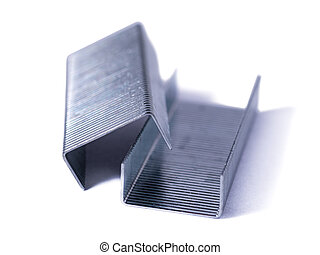 Blue stapler and staples Isolated on white background.