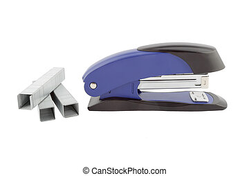 Blue stapler and staples isolated