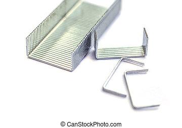 Blue stapler and staples Isolated on white background