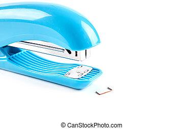 Blue stapler isolated on white background