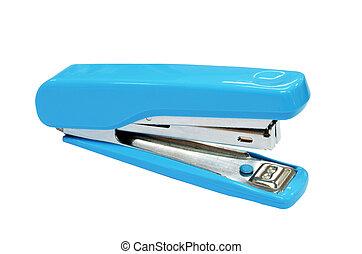 Blue stapler isolated on white