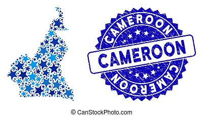 Blue Star African Cameroon Map Composition and Scratched Stamp Seal