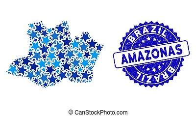 Blue Star Amazonas State Map Composition and Textured Stamp Seal