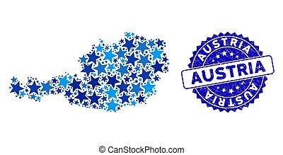 Blue Star Austria Map Mosaic and Grunge Stamp Seal