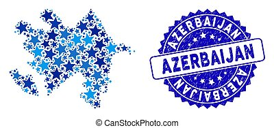 Blue Star Azerbaijan Map Collage and Scratched Stamp Seal