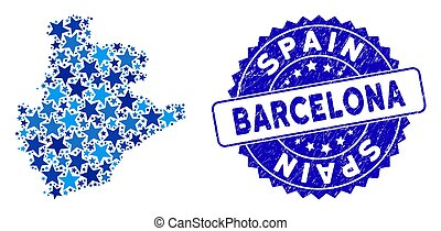 Blue Star Barcelona Province Map Mosaic and Grunge Stamp Seal