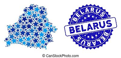 Blue Star Belarus Map Composition and Textured Stamp