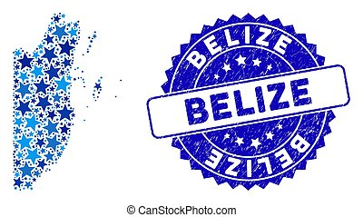 Blue Star Belize Map Collage and Grunge Stamp Seal