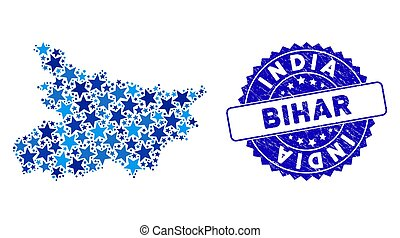 Blue Star Bihar State Map Collage and Textured Stamp Seal