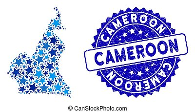 Blue Star Cameroon Map Composition and Scratched Stamp