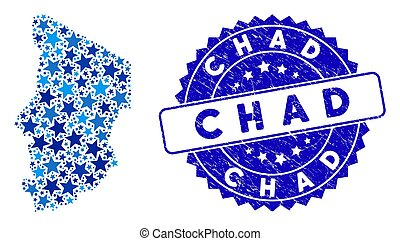 Blue Star Chad Map Composition and Distress Stamp