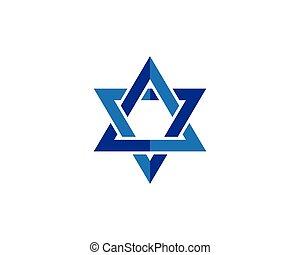 Blue star David icon Israel symbol