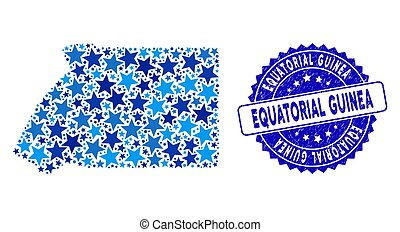 Blue Star Equatorial Guinea Map Collage and Scratched Stamp ...
