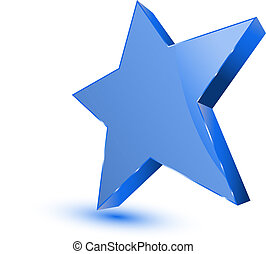 Blue star - favorites symbol on white background