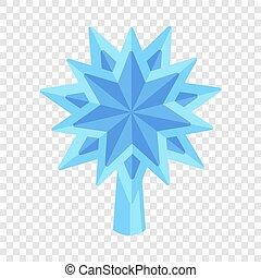 Blue star fir tree icon, flat style