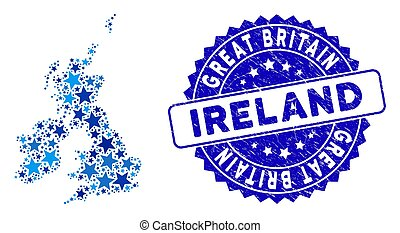 Blue Star Great Britain and Ireland Map Collage and Scratched Stamp